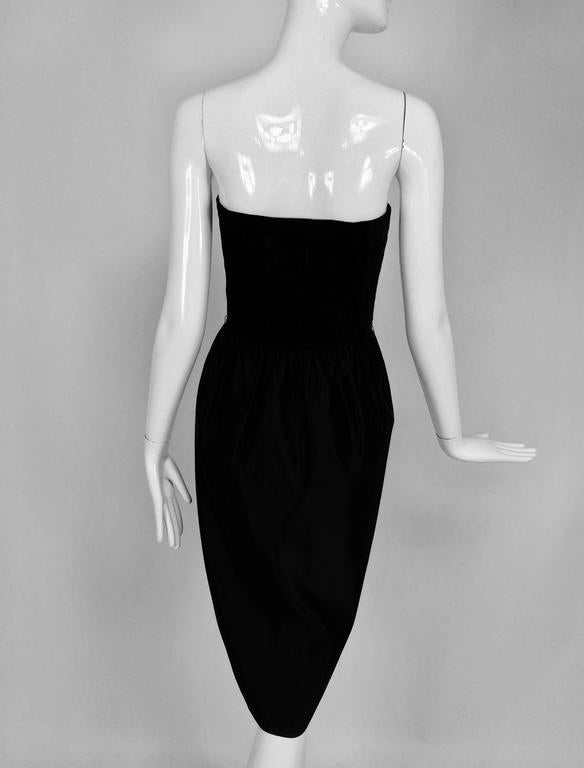 Women's Lanvin numbered Haute couture black silk and velvet strapless cocktail dress  For Sale