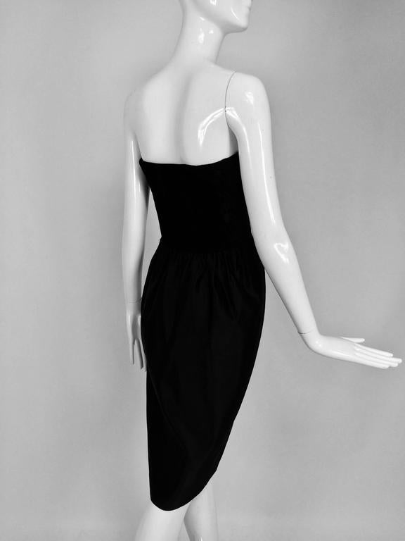 Lanvin numbered Haute couture black silk and velvet strapless cocktail dress  For Sale 1