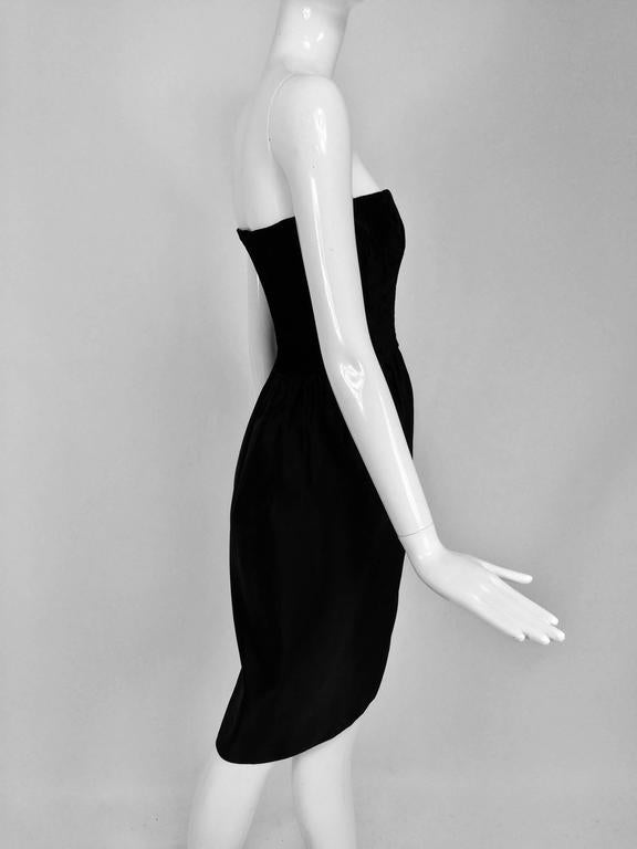 Lanvin numbered Haute couture black silk and velvet strapless cocktail dress  For Sale 2