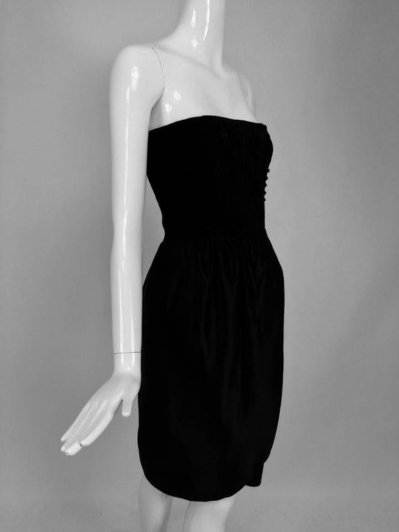 Lanvin numbered Haute couture black silk and velvet strapless cocktail dress  For Sale 4