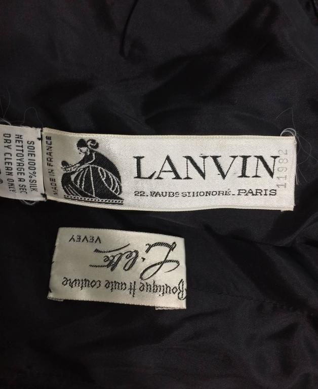Lanvin numbered Haute couture black silk and velvet strapless cocktail dress  For Sale 5
