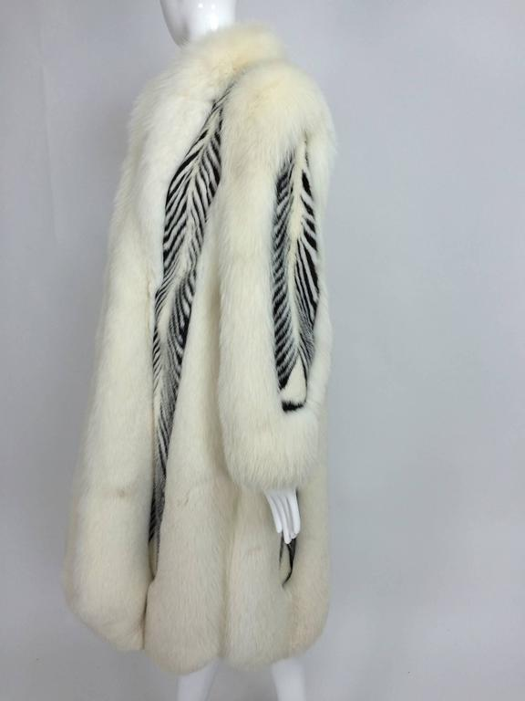 Aladino Stefani arctic fox and sheared black and white mink full length coat 2