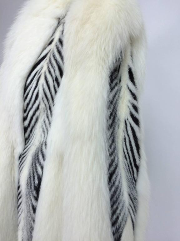 Aladino Stefani arctic fox and sheared black and white mink full length coat 3