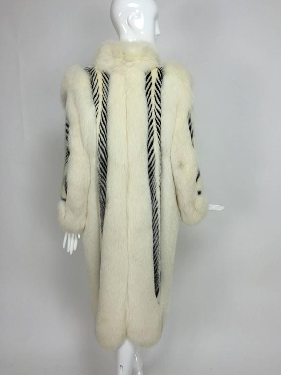 Aladino Stefani arctic fox and sheared black and white mink full length coat 6