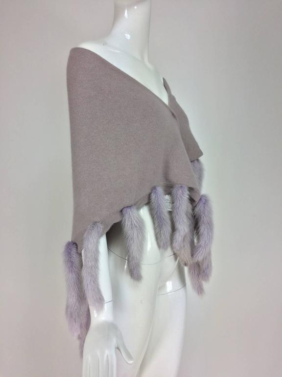 Gray Lavender soft wool and angora knit shawl with mink tails For Sale