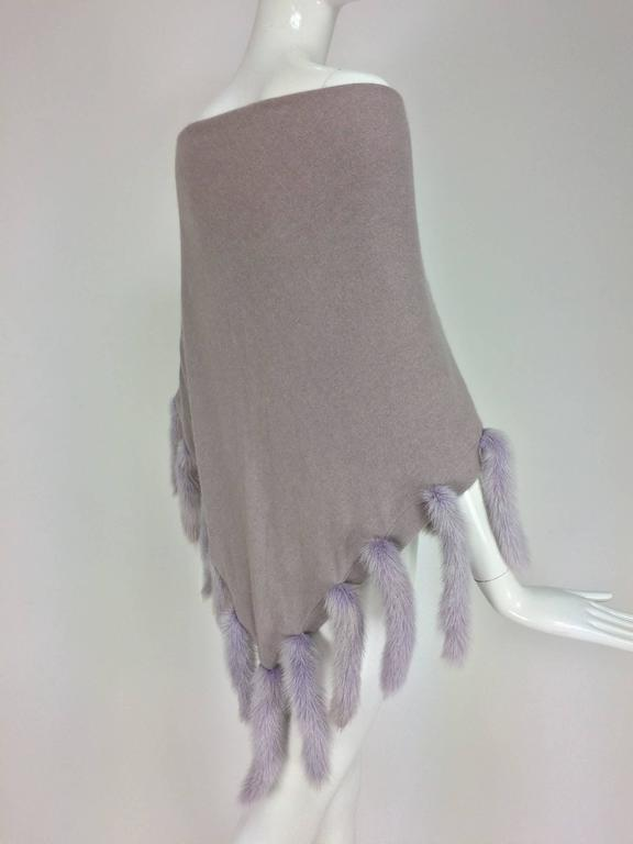 Women's Lavender soft wool and angora knit shawl with mink tails For Sale