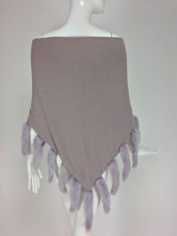 Lavender soft wool and angora knit shawl with mink tails For Sale 1