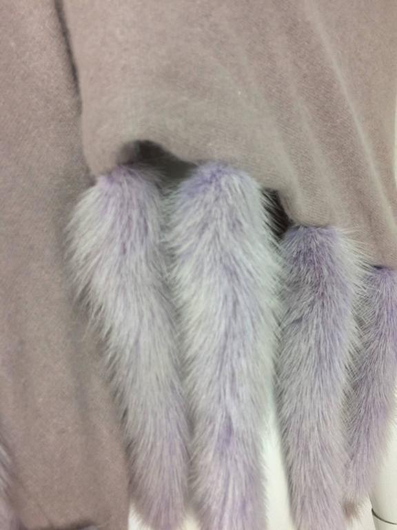 Lavender soft wool and angora knit shawl with mink tails For Sale 2