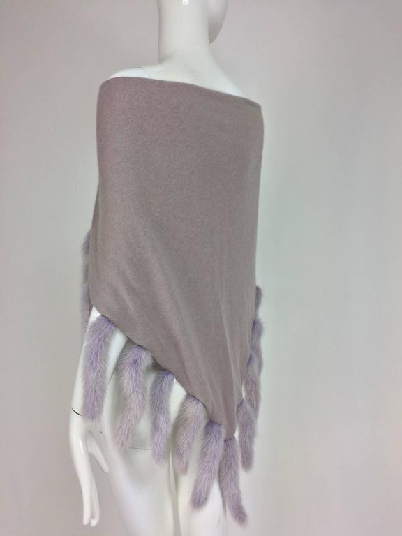 Lavender soft wool and angora knit shawl with mink tails For Sale 3