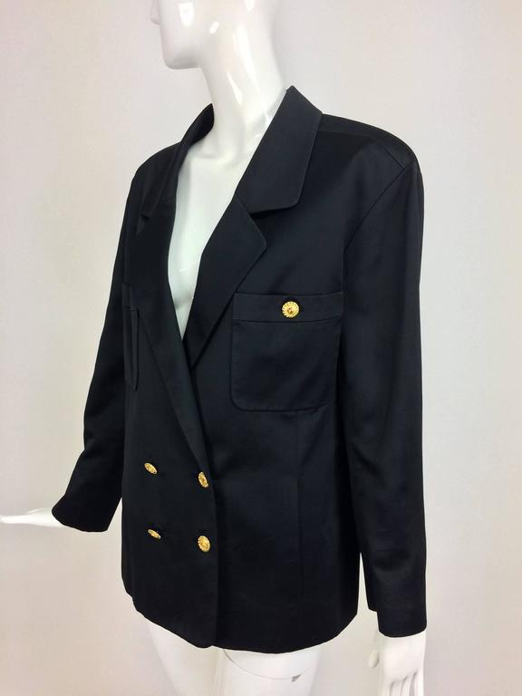 Black Vintage Chanel black silk double breasted pea coat jacket 42 For Sale