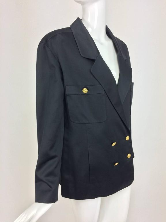 Vintage Chanel black silk double breasted pea coat jacket 42 In Excellent Condition For Sale In West Palm Beach, FL