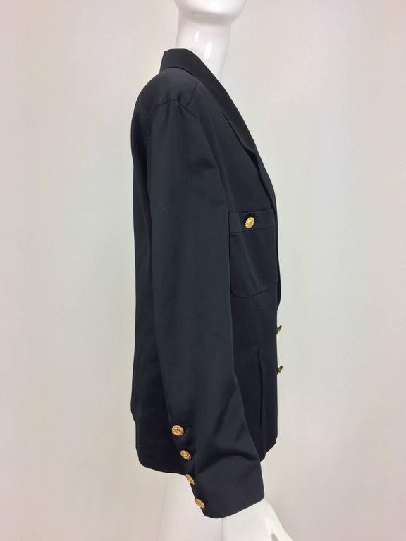 Women's Vintage Chanel black silk double breasted pea coat jacket 42 For Sale