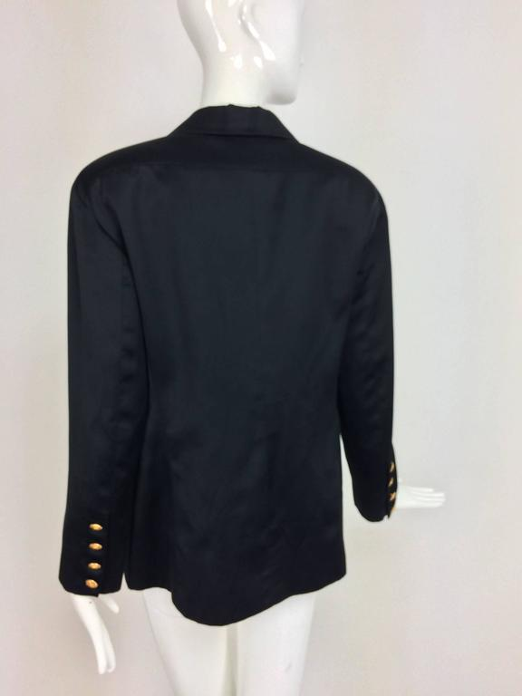 Vintage Chanel black silk double breasted pea coat jacket 42 For Sale 1