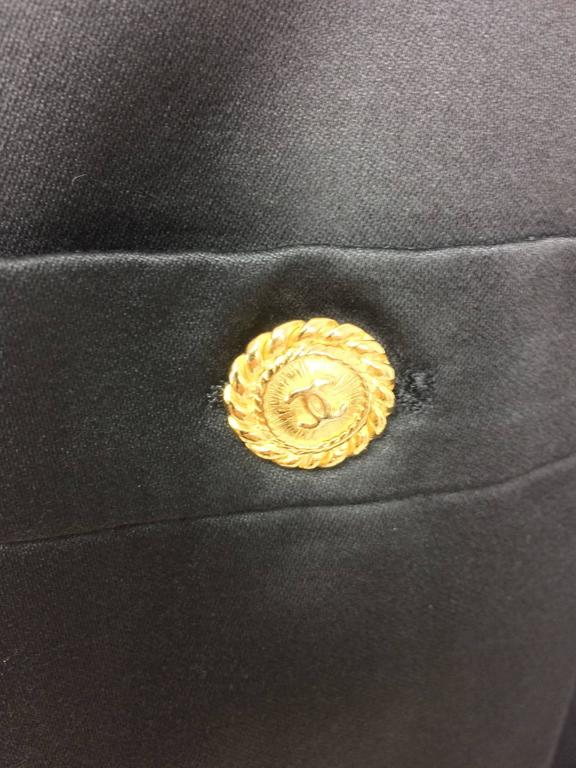 Vintage Chanel black silk double breasted pea coat jacket 42 For Sale 3