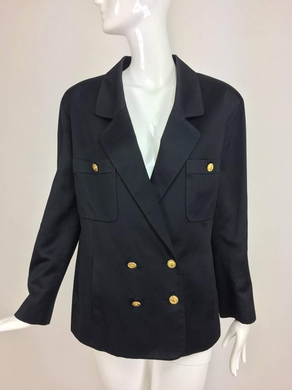 Vintage Chanel black silk double breasted pea coat jacket 42 For Sale 4