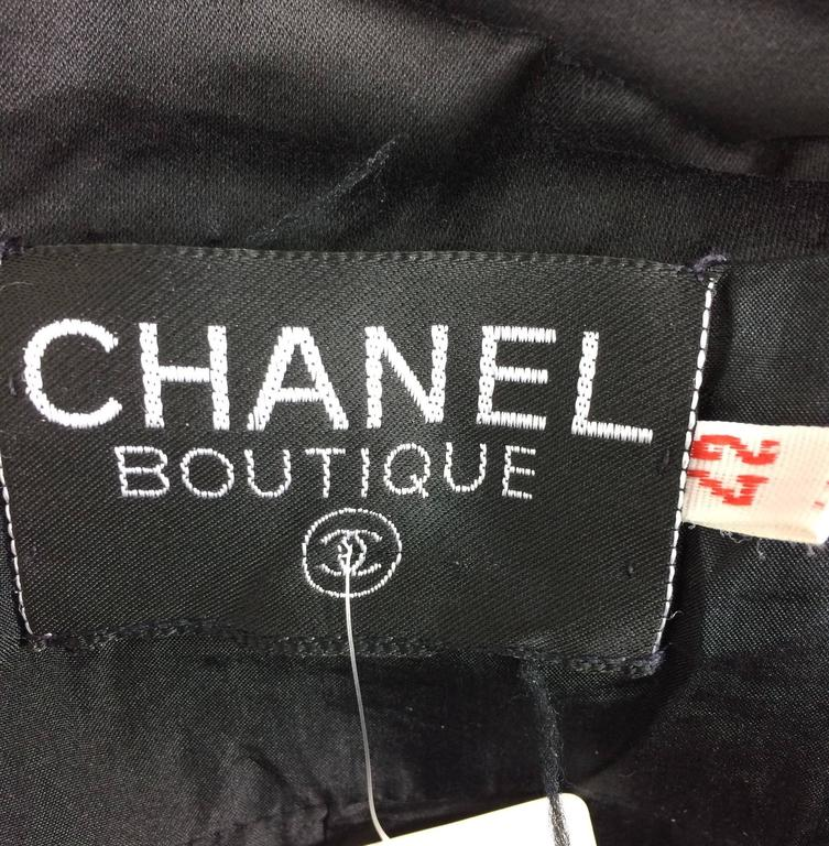 Vintage Chanel black silk double breasted pea coat jacket 42 For Sale 5