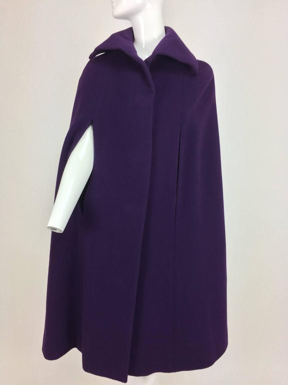 Vintage Pauline Trigere purple wool cape 1970s 2