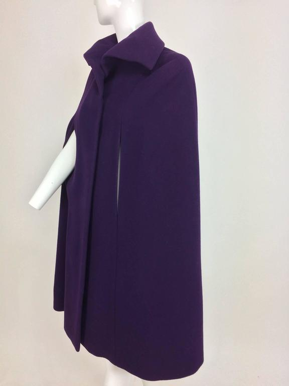 Vintage Pauline Trigere purple wool cape 1970s 3