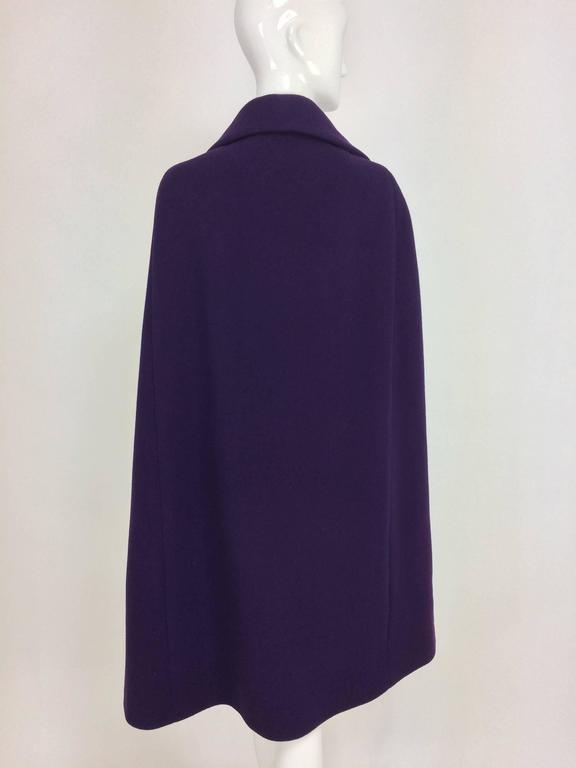 Vintage Pauline Trigere purple wool cape 1970s 6