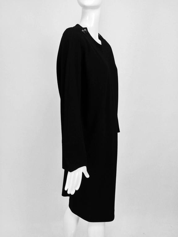 Vintage Jean Muir black wool crepe dolman sleeve dress 1980s 3