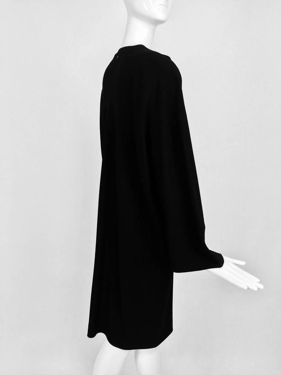 Women's Vintage Jean Muir black wool crepe dolman sleeve dress 1980s For Sale