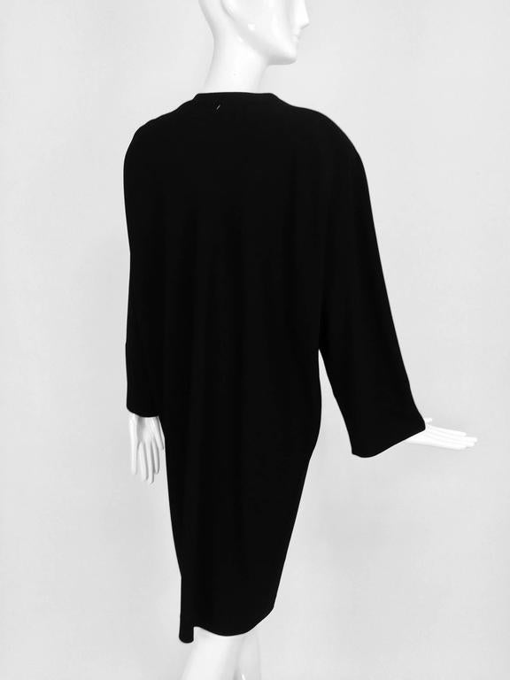 Vintage Jean Muir black wool crepe dolman sleeve dress 1980s For Sale 1