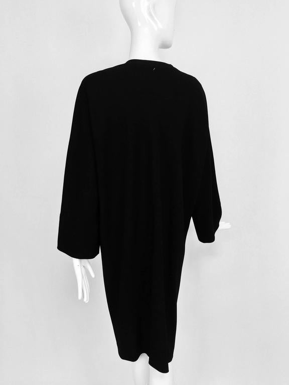 Vintage Jean Muir black wool crepe dolman sleeve dress 1980s For Sale 2