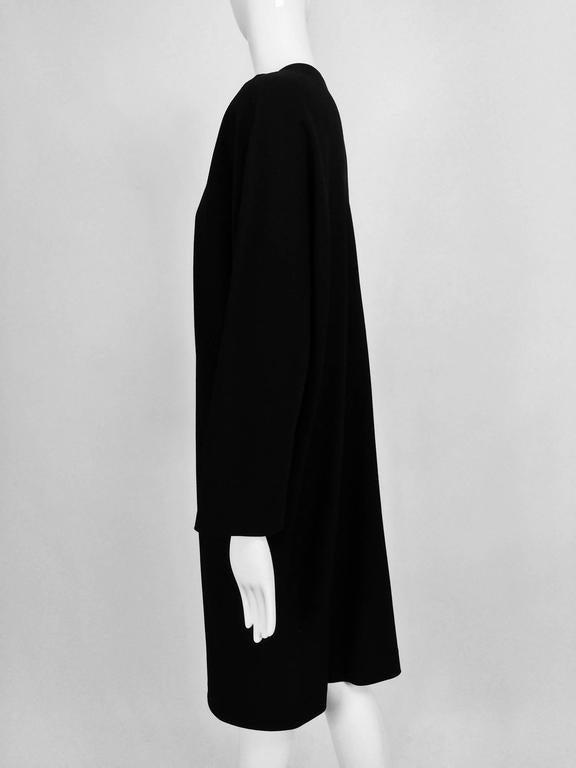 Vintage Jean Muir black wool crepe dolman sleeve dress 1980s For Sale 3