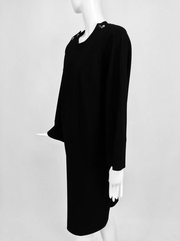 Vintage Jean Muir black wool crepe dolman sleeve dress 1980s For Sale 4