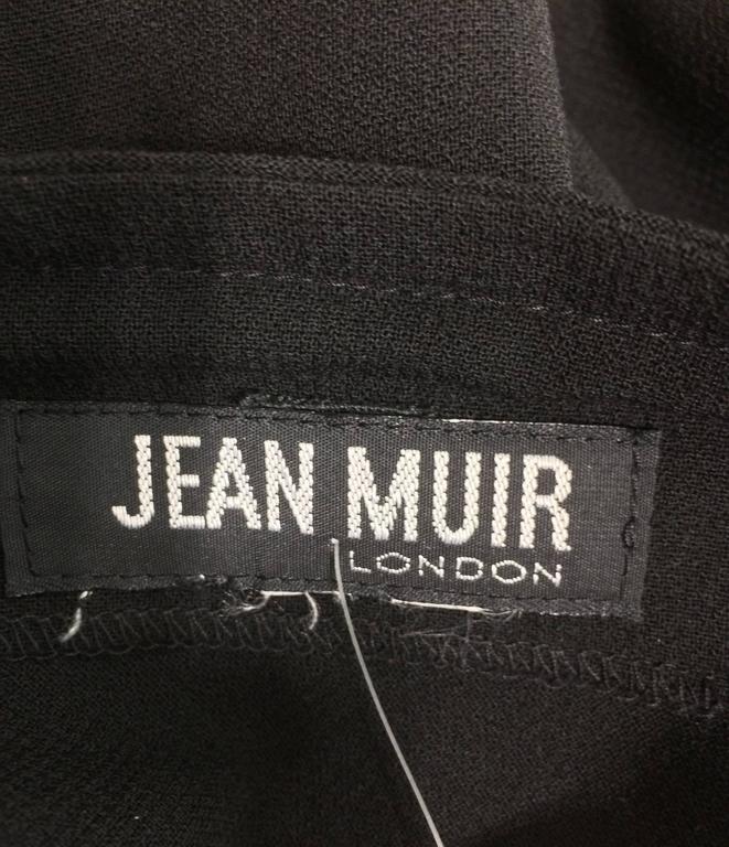 Vintage Jean Muir black wool crepe dolman sleeve dress 1980s 10