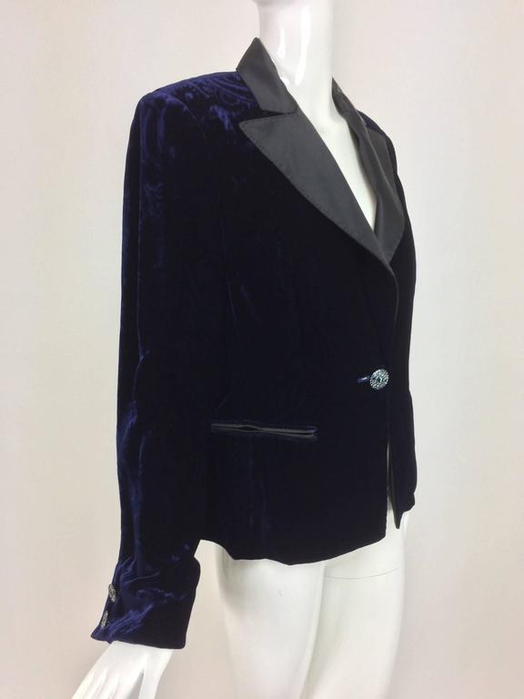 8bd963a690b Feraud ink blue embossed velvet tuxedo style jacket with notched black  satin lapels that have top