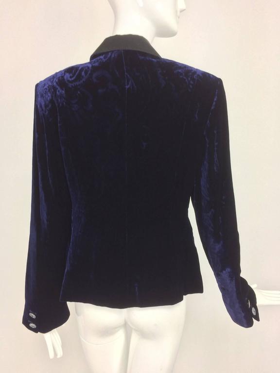 3ee646b41f8 Feraud ink blue embossed velvet tuxedo style jacket For Sale at 1stdibs
