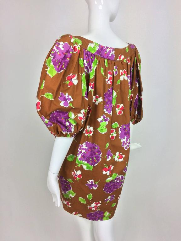 Vintage Yves Saint Laurent floral cotton sac dress 1980s In New never worn Condition For Sale In West Palm Beach, FL