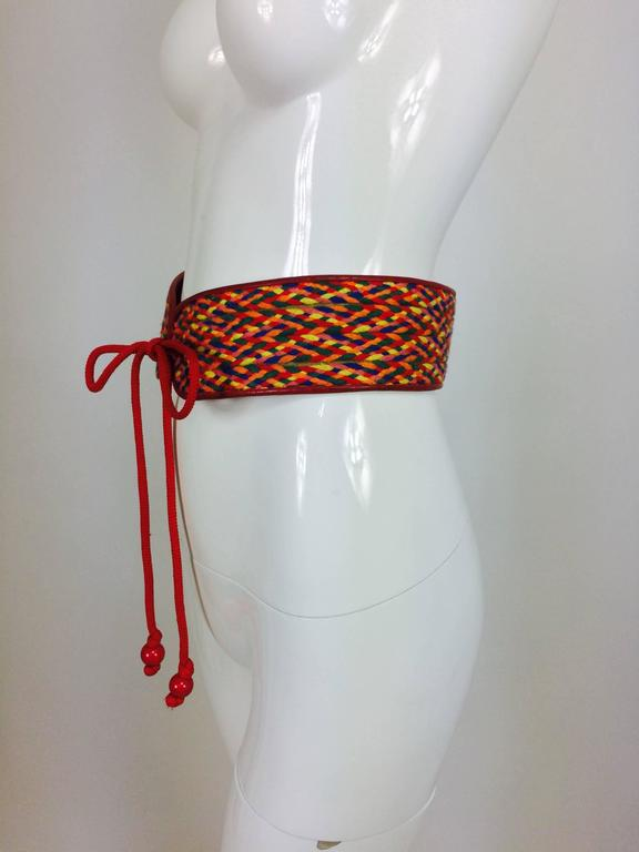 Red Vintage Yves Saint Laurent woven coloured cord and leather belt 1960s For Sale