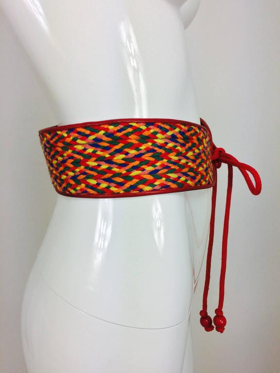 Vintage Yves Saint Laurent woven coloured cord and leather belt 1960s In Excellent Condition For Sale In West Palm Beach, FL