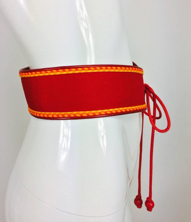 Red Vintage Yves Saint Laurent red cotton cord and leather tie front belt 1960s For Sale