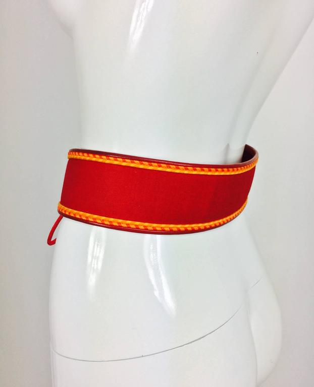 Vintage Yves Saint Laurent red cotton cord and leather tie front belt 1960s In Excellent Condition For Sale In West Palm Beach, FL