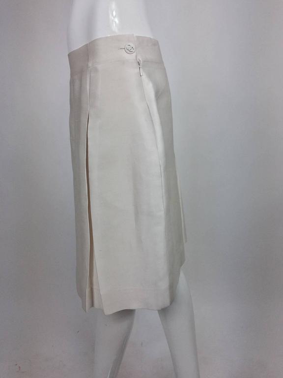 Chanel off white silk cotton pique box pleated skirt 2009 2