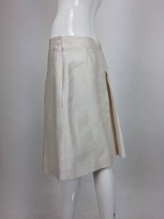 Chanel off white silk cotton pique box pleated skirt 2009 3