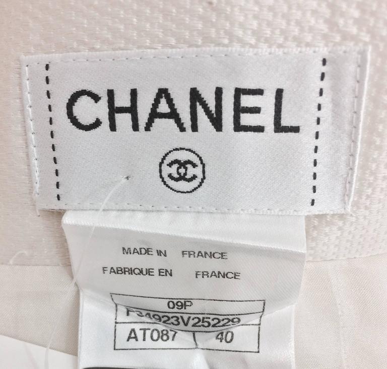 Chanel off white silk cotton pique box pleated skirt 2009 6