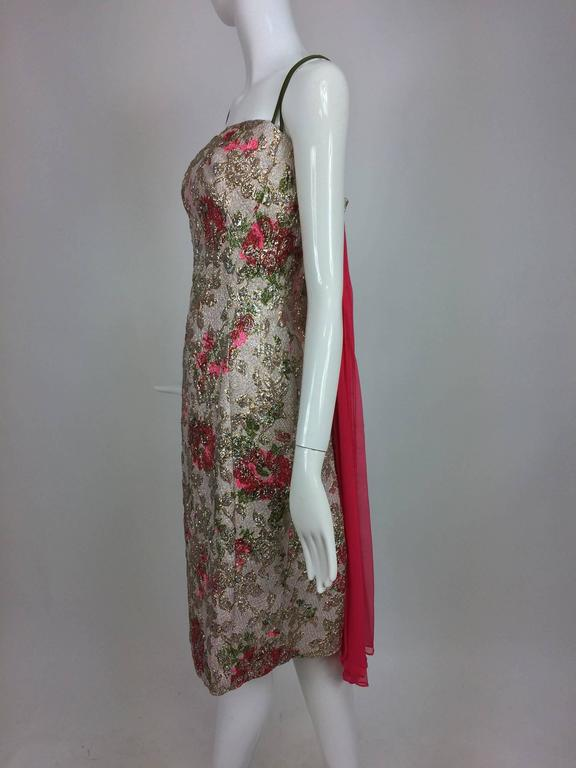 Vintage Penny Parker metallic brocade sheath dress unworn 1950s  In Good Condition For Sale In West Palm Beach, FL
