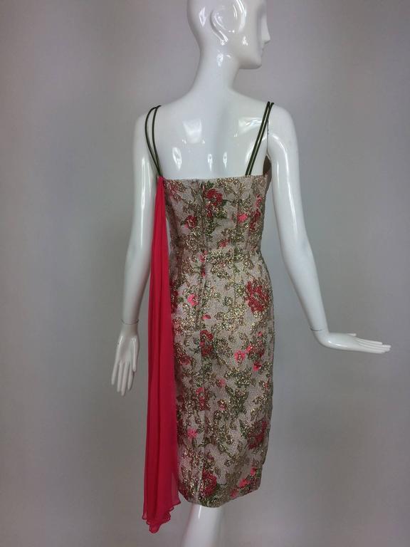 Vintage Penny Parker metallic brocade sheath dress unworn 1950s  For Sale 3