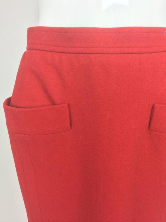 Vintage Yves Saint Laurent brick red wool skirt with hip front pockets 1980s 2