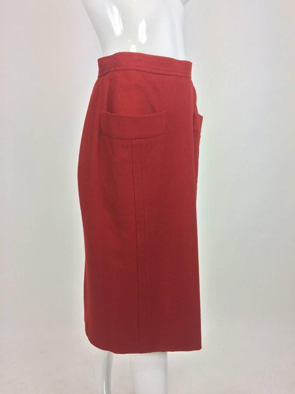 Vintage Yves Saint Laurent brick red wool skirt with hip front pockets 1980s 3