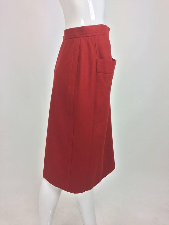 Vintage Yves Saint Laurent brick red wool skirt with hip front pockets 1980s 4
