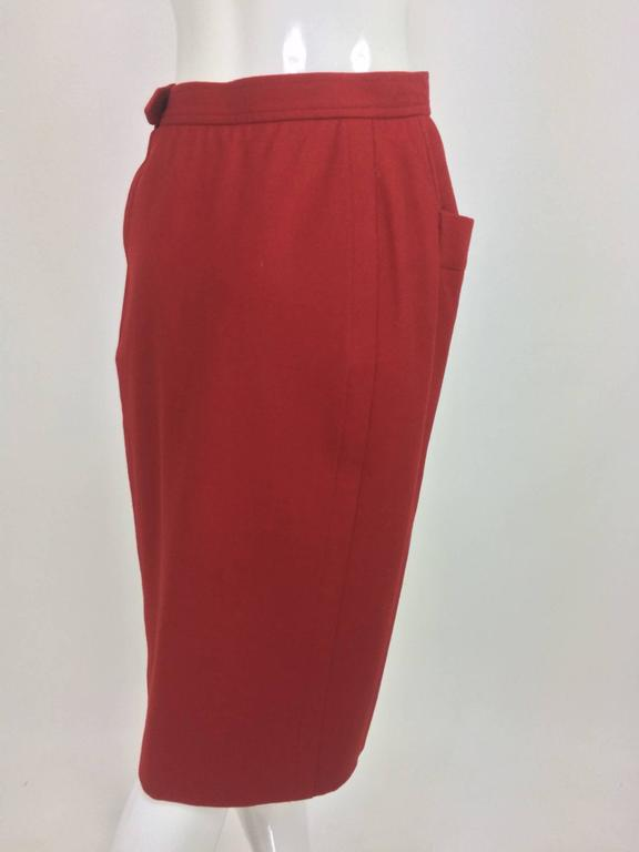 Vintage Yves Saint Laurent brick red wool skirt with hip front pockets 1980s 5