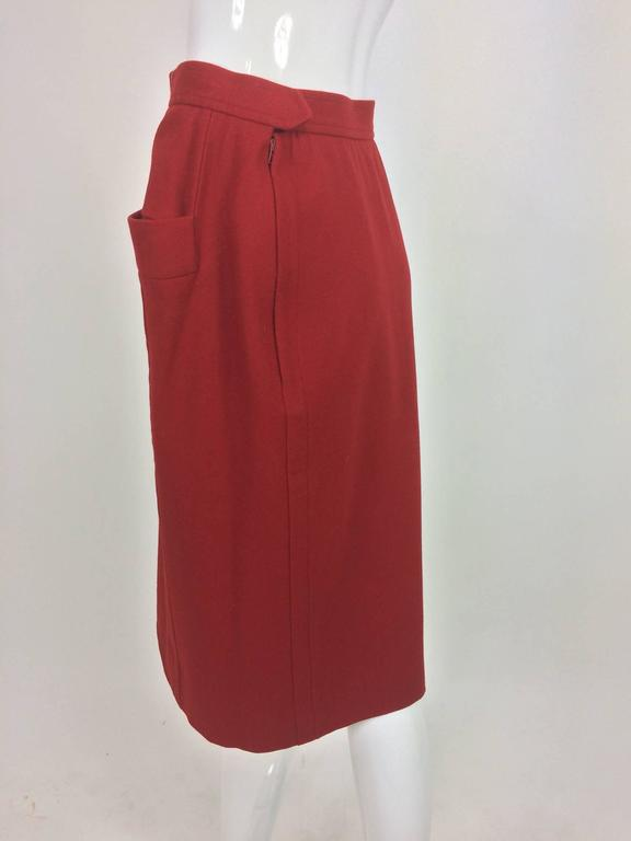 Vintage Yves Saint Laurent brick red wool skirt with hip front pockets 1980s 6