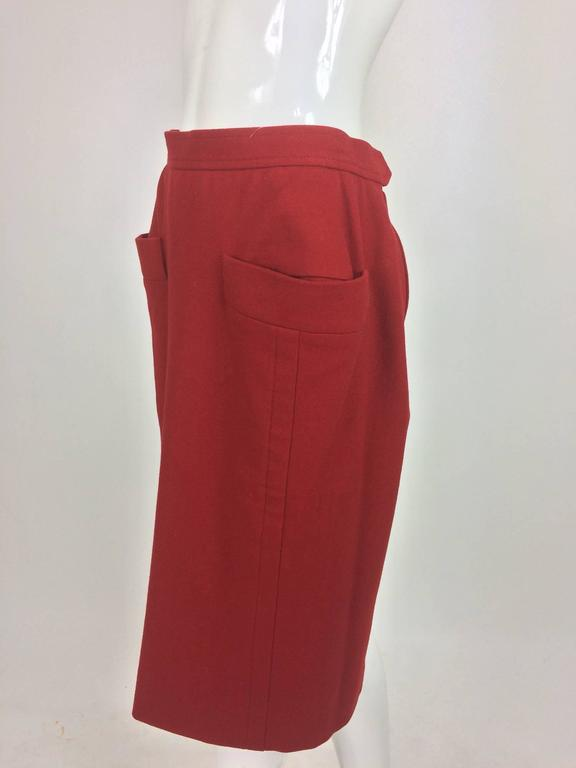Vintage Yves Saint Laurent brick red wool skirt with hip front pockets 1980s 7