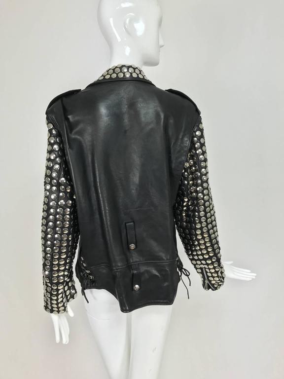 Vintage Heavily Studded Black Leather Motorcycle Jacket Mens Small