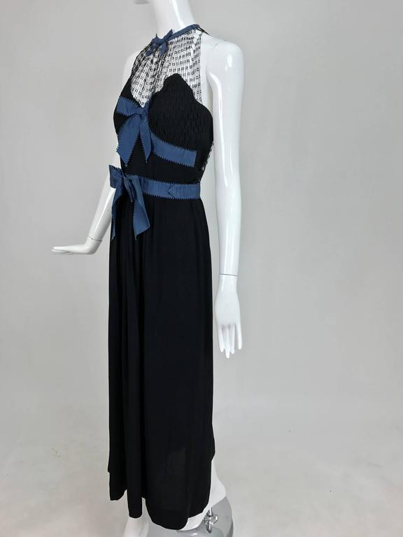 Mainbocher 1946 black crepe and net dress with hood estate of Ruth Gordon  In Excellent Condition For Sale In West Palm Beach, FL
